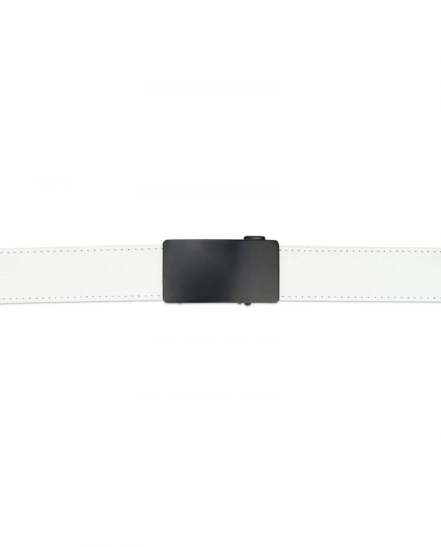 White comfort click belt with black buckle AUWH35BLPL 3