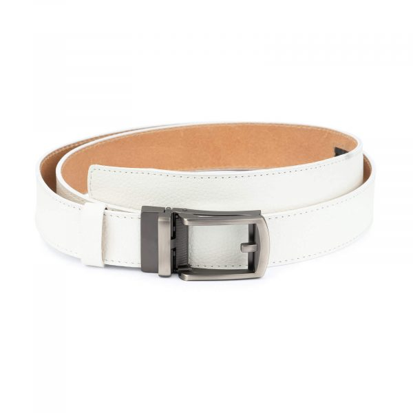 White leather men s click belt with gray buckle AUWH35CLGR 1