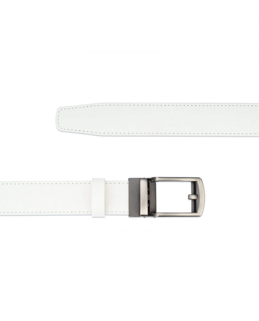 White leather men s click belt with gray buckle AUWH35CLGR 2