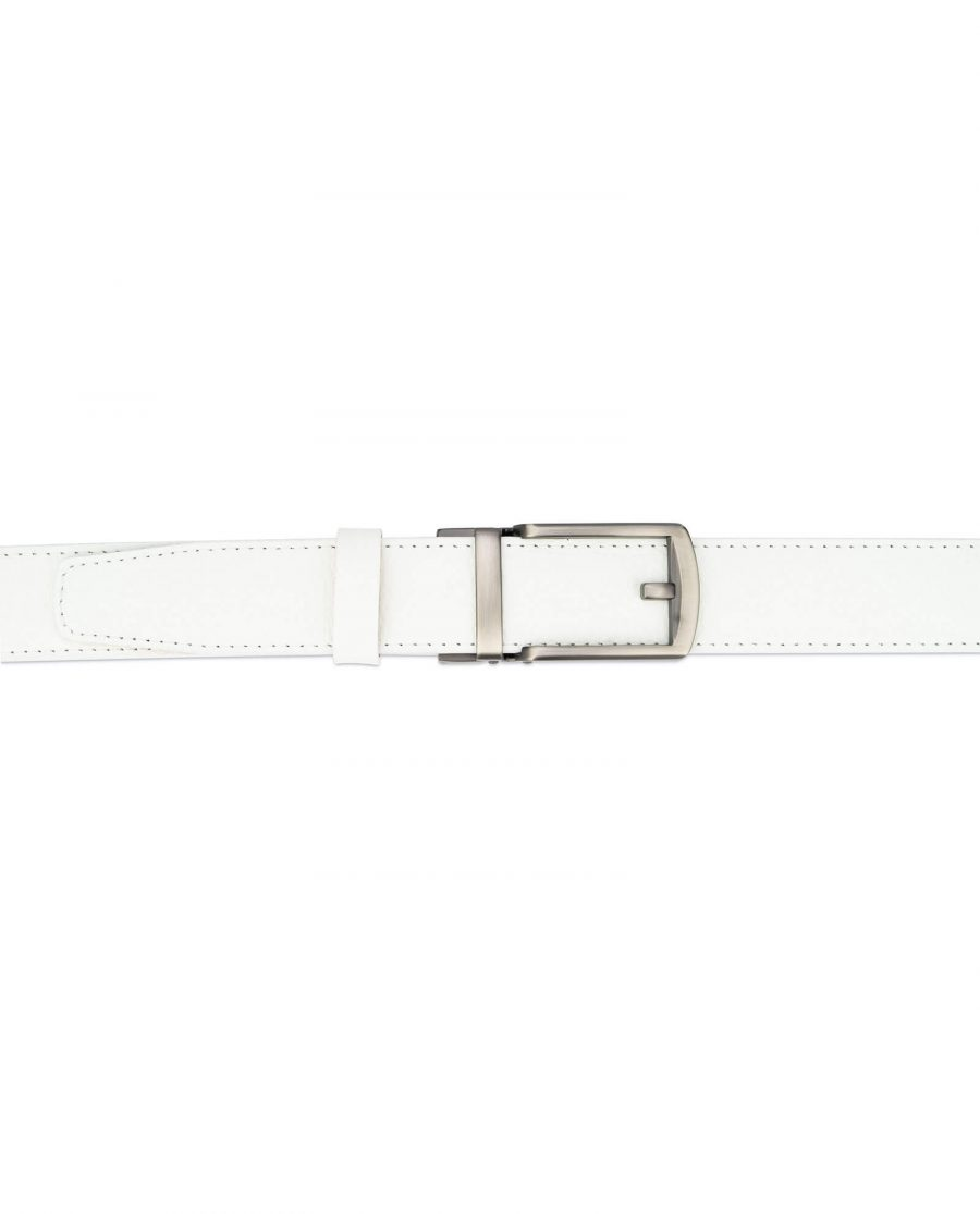 White leather men s click belt with gray buckle AUWH35CLGR 3