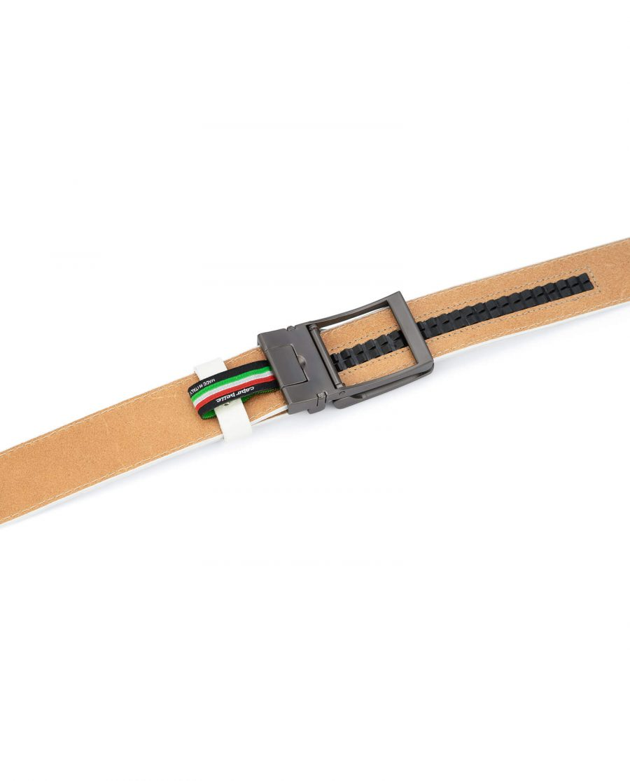 White leather men s click belt with gray buckle AUWH35CLGR 4