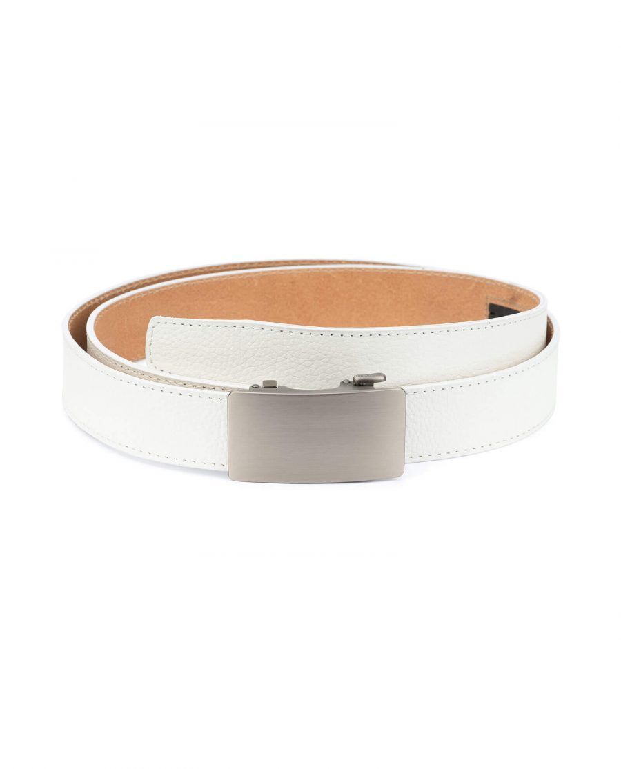 White ratcheting leather belt with blank buckle RTWH35GRPL 1