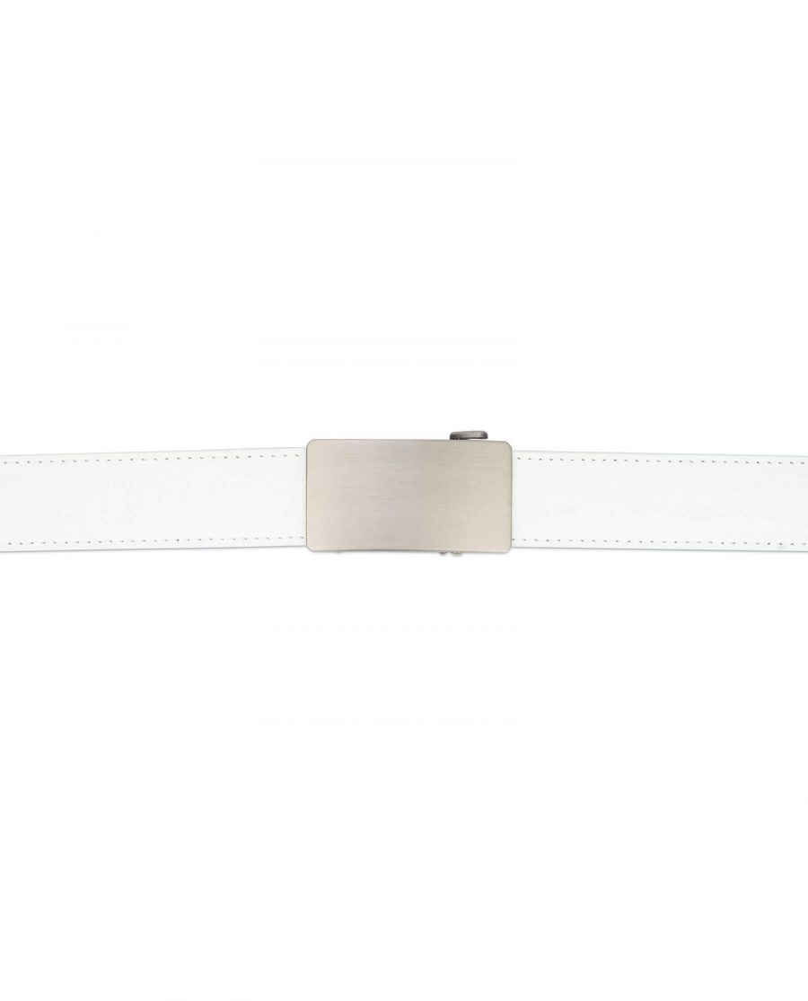 White ratcheting leather belt with blank buckle RTWH35GRPL 3