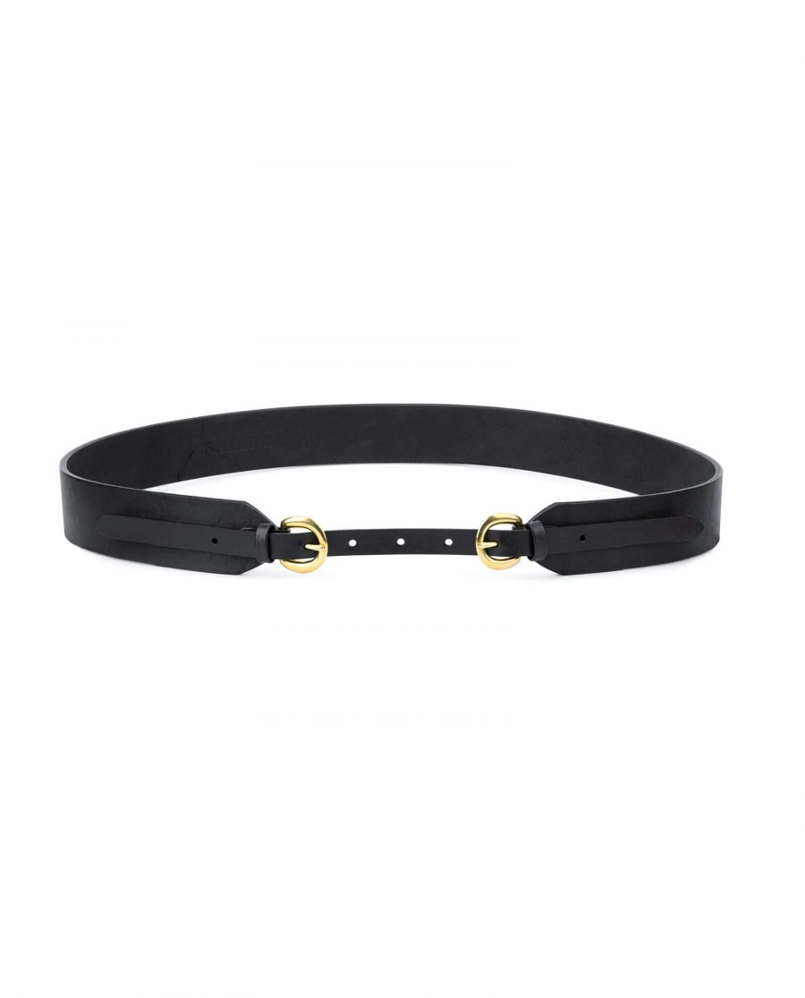 Wide double buckle belt gold solid brass DBBR40ROGD 1