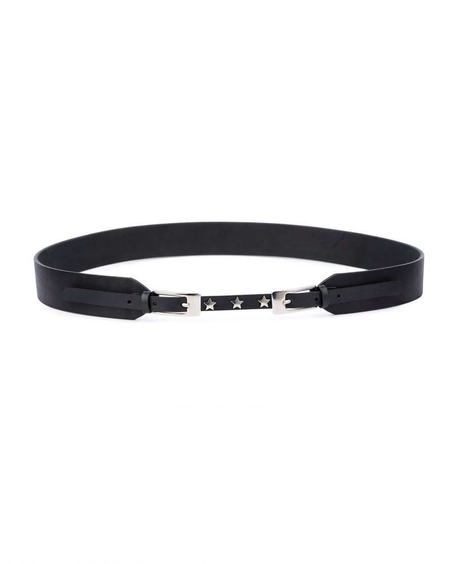 Womens Black double buckle belt – star studded DBBL40SRSI 1
