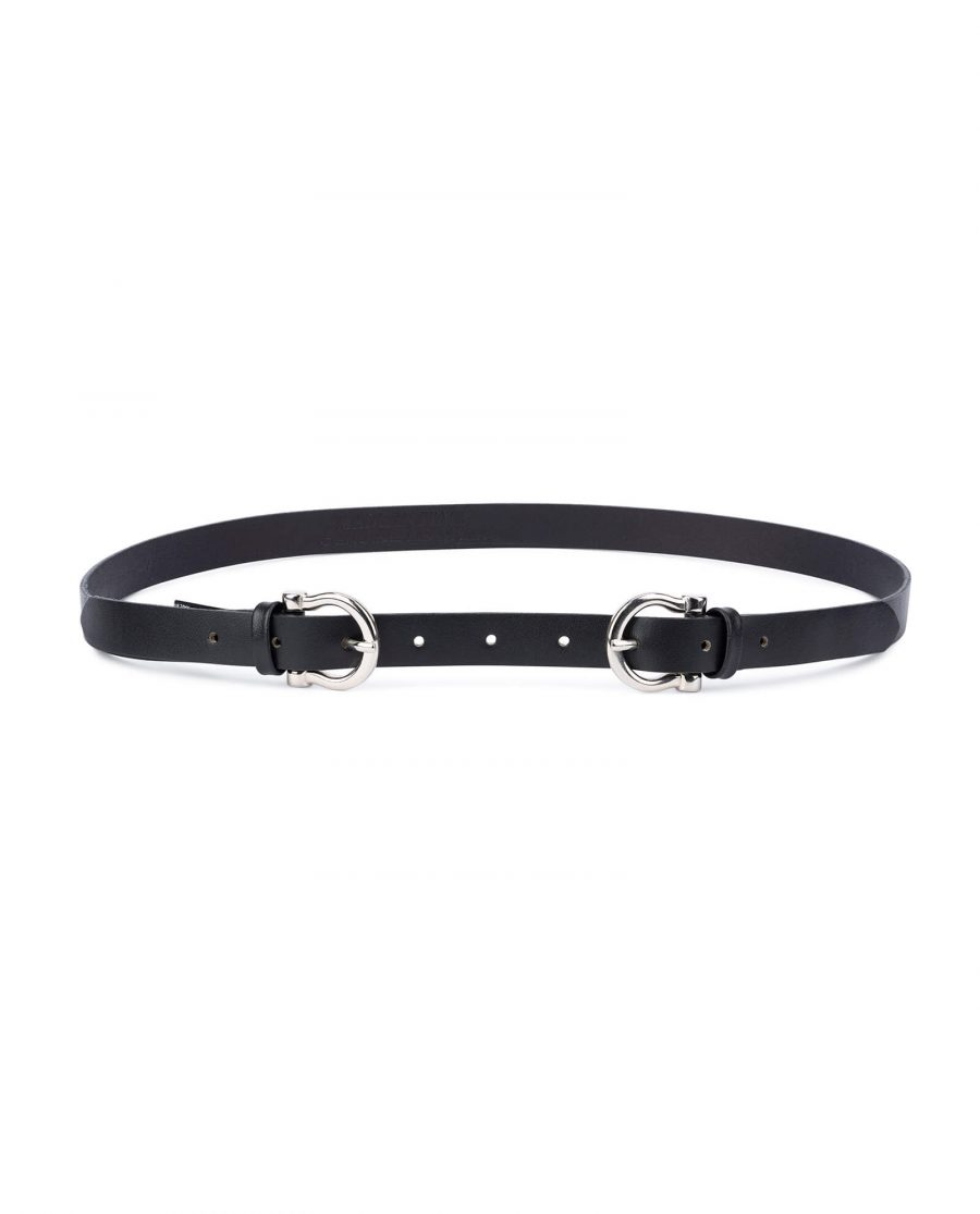 Womens double buckle belt – thin leather 20 mm DBBL20HOSI 1