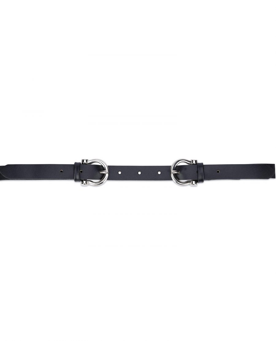 Womens double buckle belt – thin leather 20 mm DBBL20HOSI 3