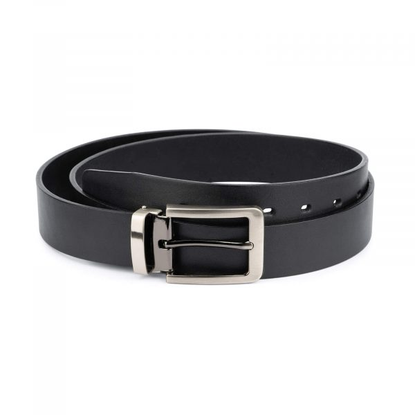black full grain leather belt for men 3 5 cm 1