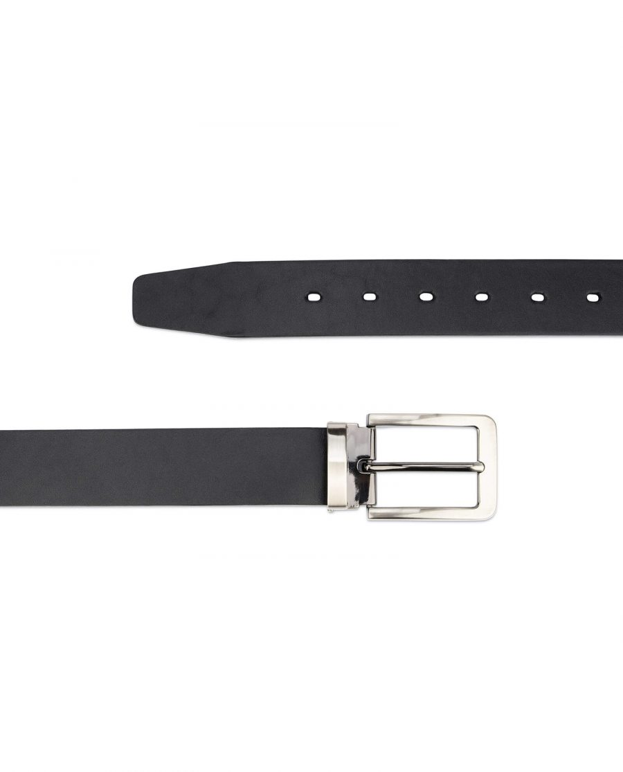 black full grain leather belt for men 3 5 cm 2