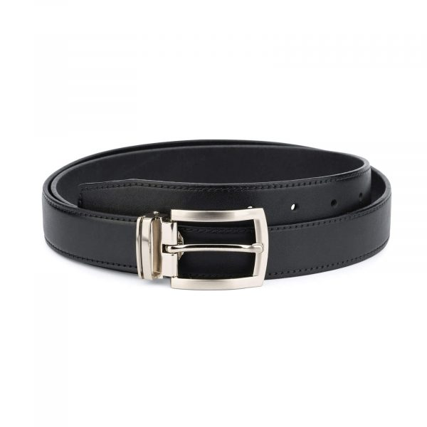 black full grain leather belt for men 30 mm FGBL30PTSI 1