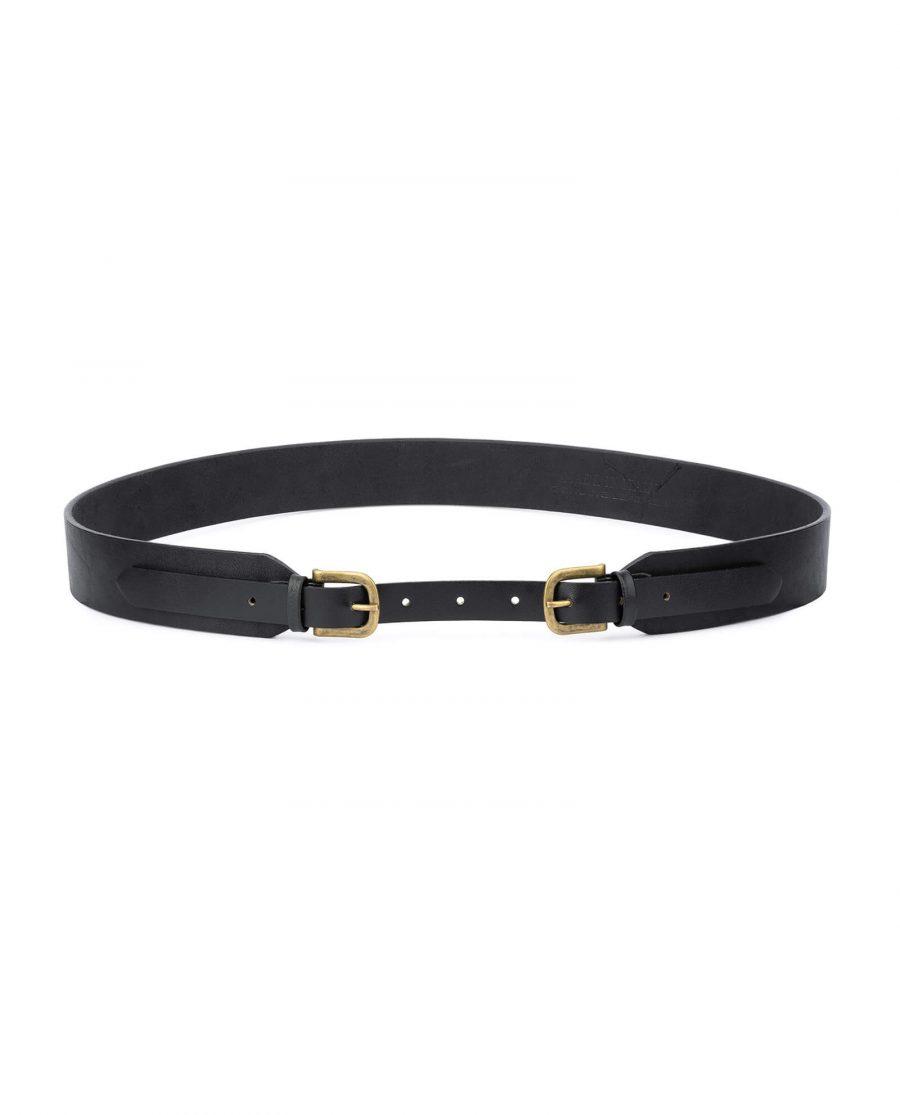 bronze double buckle belt leather black 40 mm DBBL40BRON 1