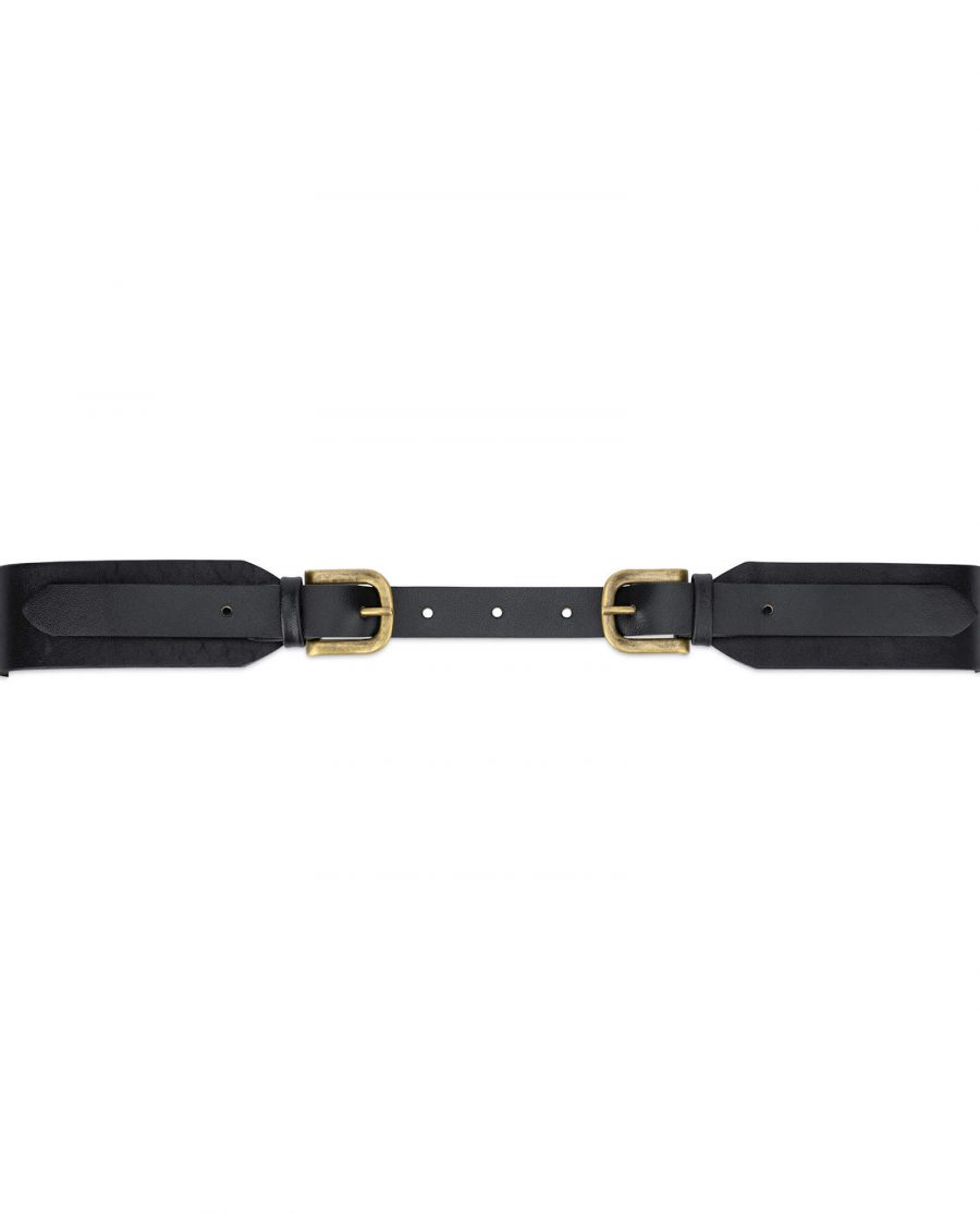 bronze double buckle belt leather black 40 mm DBBL40BRON 3