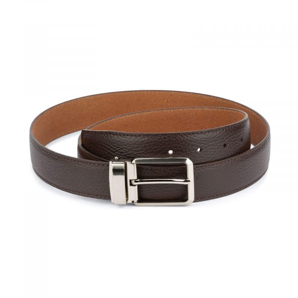brown dress belt mens – pebbled real leather 1