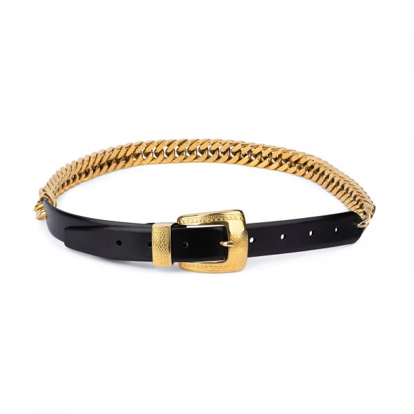 gold chain belt womens – genuine leather CHGD30BLSM 1