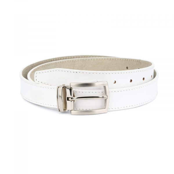 men s white leather belt – classic buckle 30 mm WTSM30PTSI 1