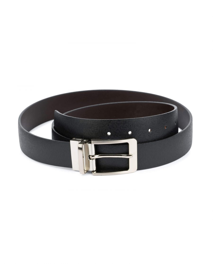 mens belt reversible saffiano leather 3 5 cm 1