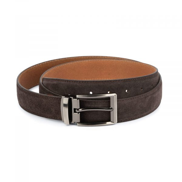 mens brown suede belt – genuine leather 35 mm 1
