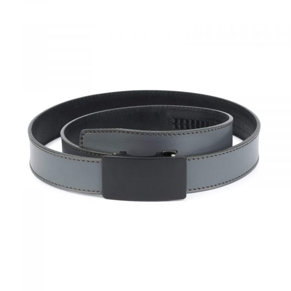 mens gray click it belt with black buckle AUGR35BLPL 1