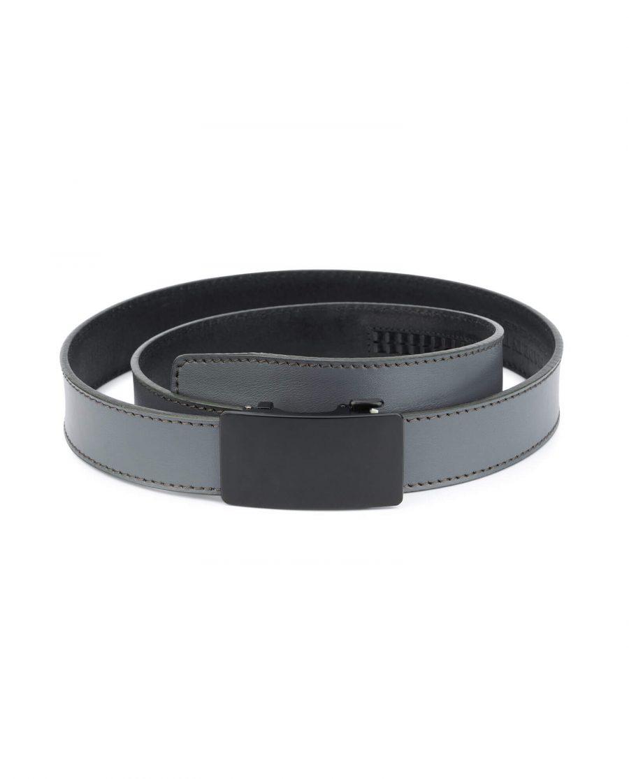 mens gray click it belt with black buckle AUGR35BLPL 1