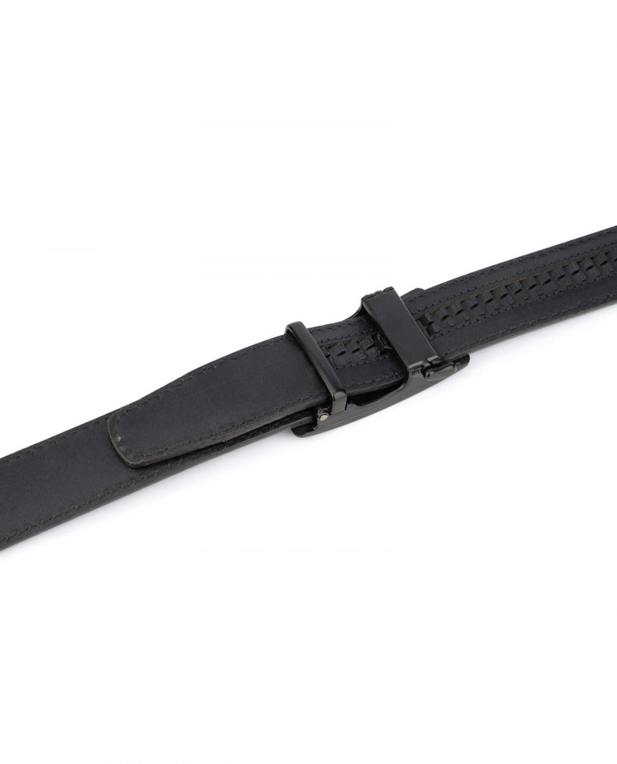 mens gray click it belt with black buckle AUGR35BLPL 3