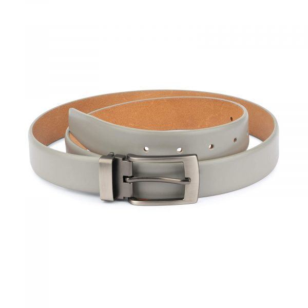 mens grey leather belt – classic buckle 3 0 cm 1