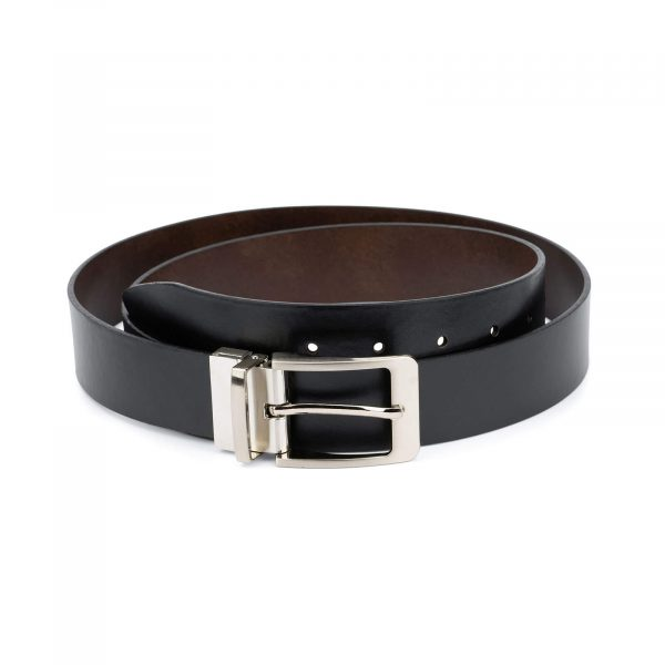 mens leather belt reversible – black and brown 1