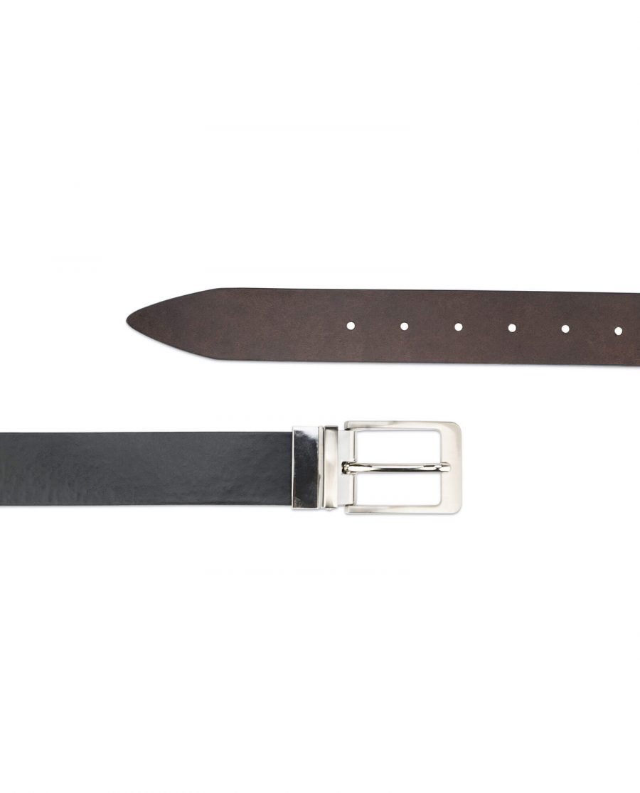 mens leather belt reversible – black and brown 2