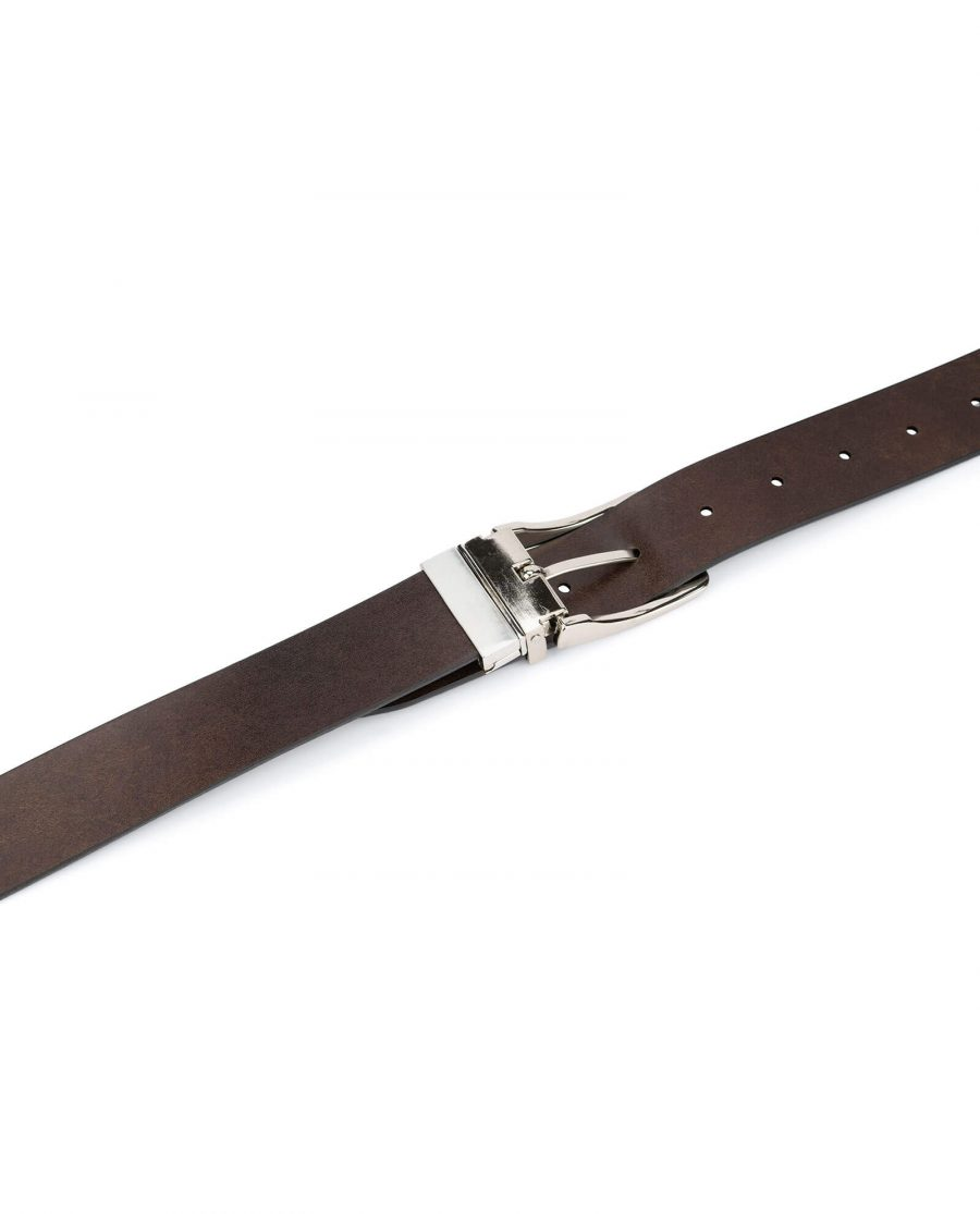 mens leather belt reversible – black and brown 4