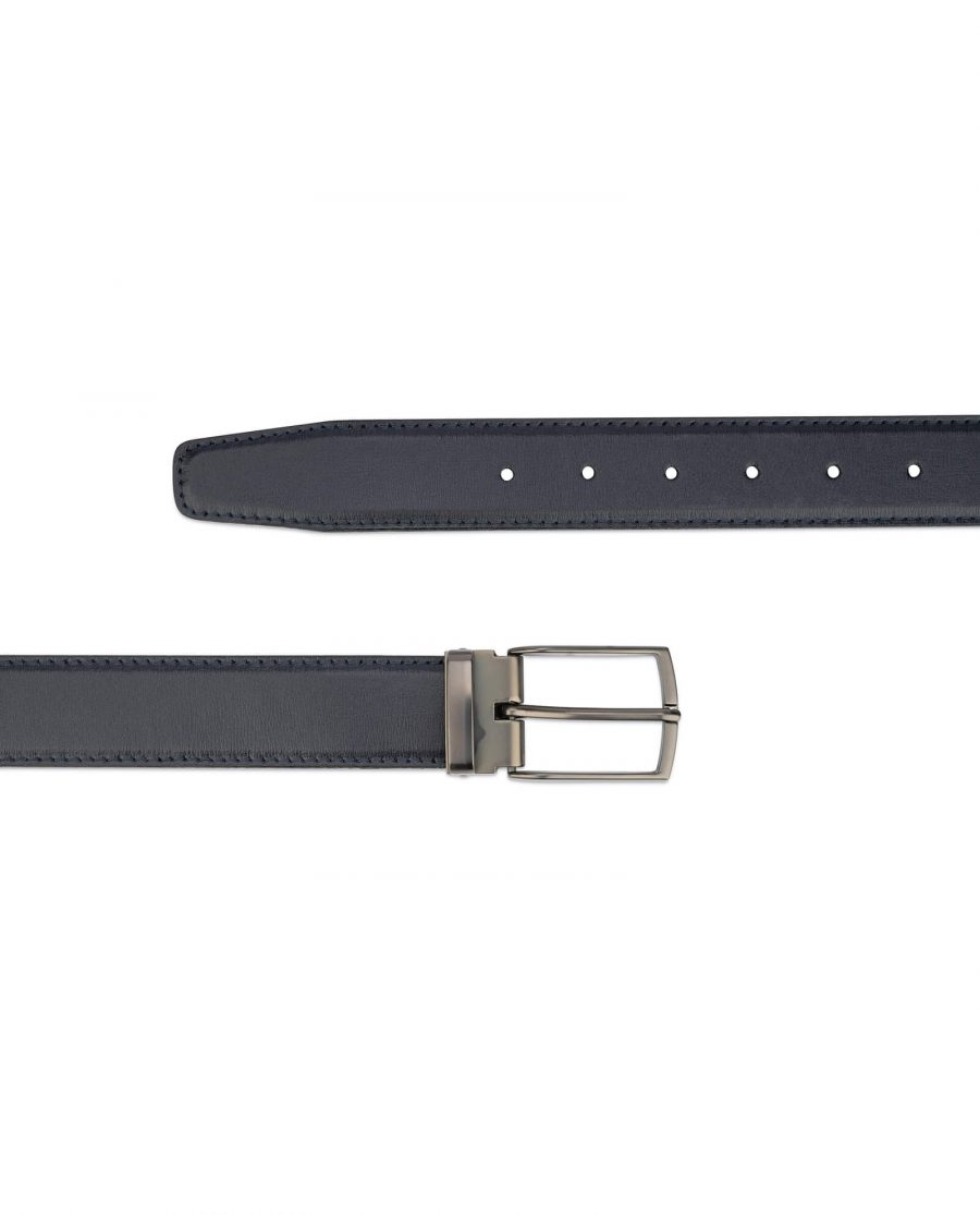 mens navy blue leather belt – dark gray buckle 2