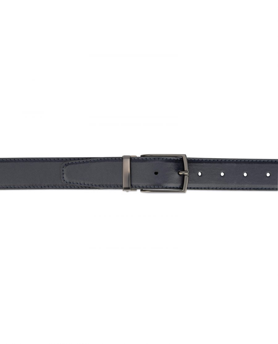 mens navy blue leather belt – dark gray buckle 3