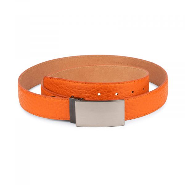 mens orange belt with blanks buckle – real leather 1