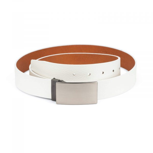 mens white leather belt – blank buckle 35 mm 1