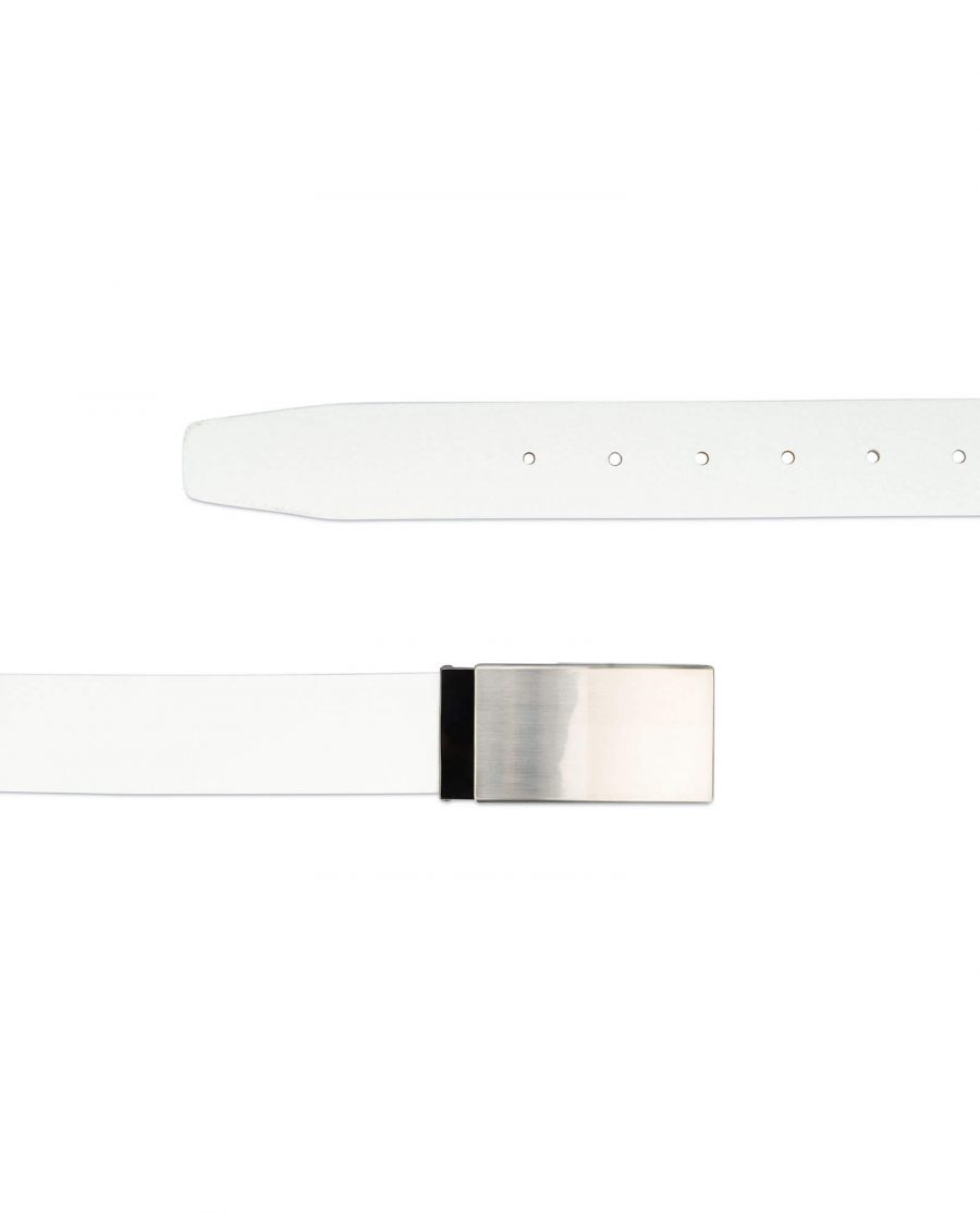 mens white leather belt – blank buckle 35 mm 2
