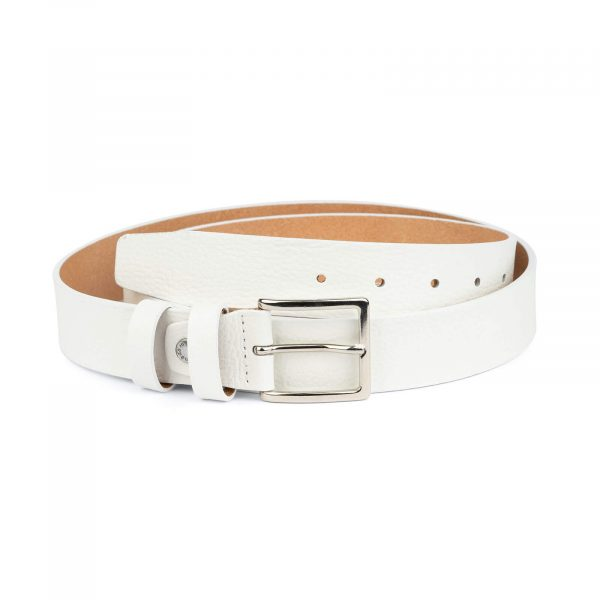 mens white leather belt with classic buckle WHCL35PEBB 1