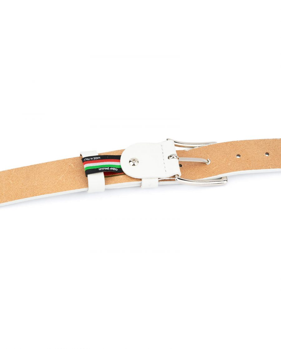 mens white leather belt with classic buckle WHCL35PEBB 4