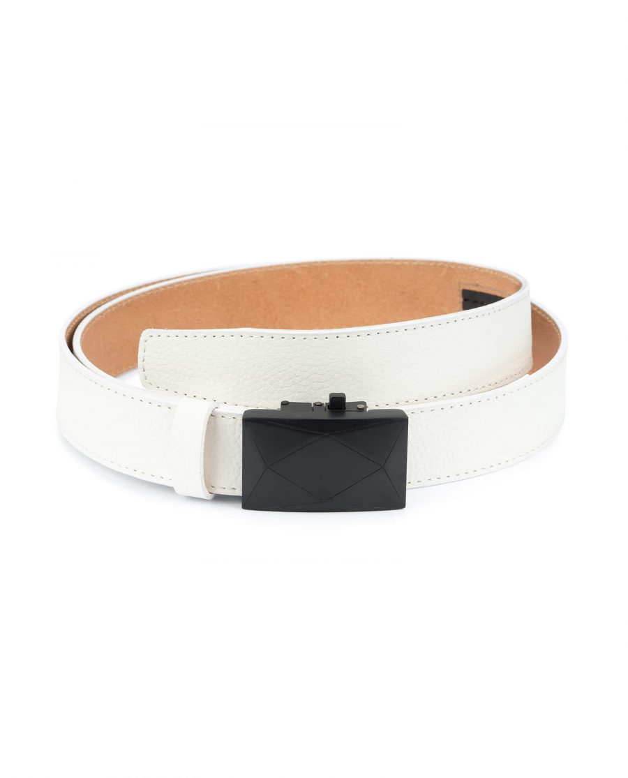 mens white leather belt with no holes – luxury buckle RTWT35ROBL 1