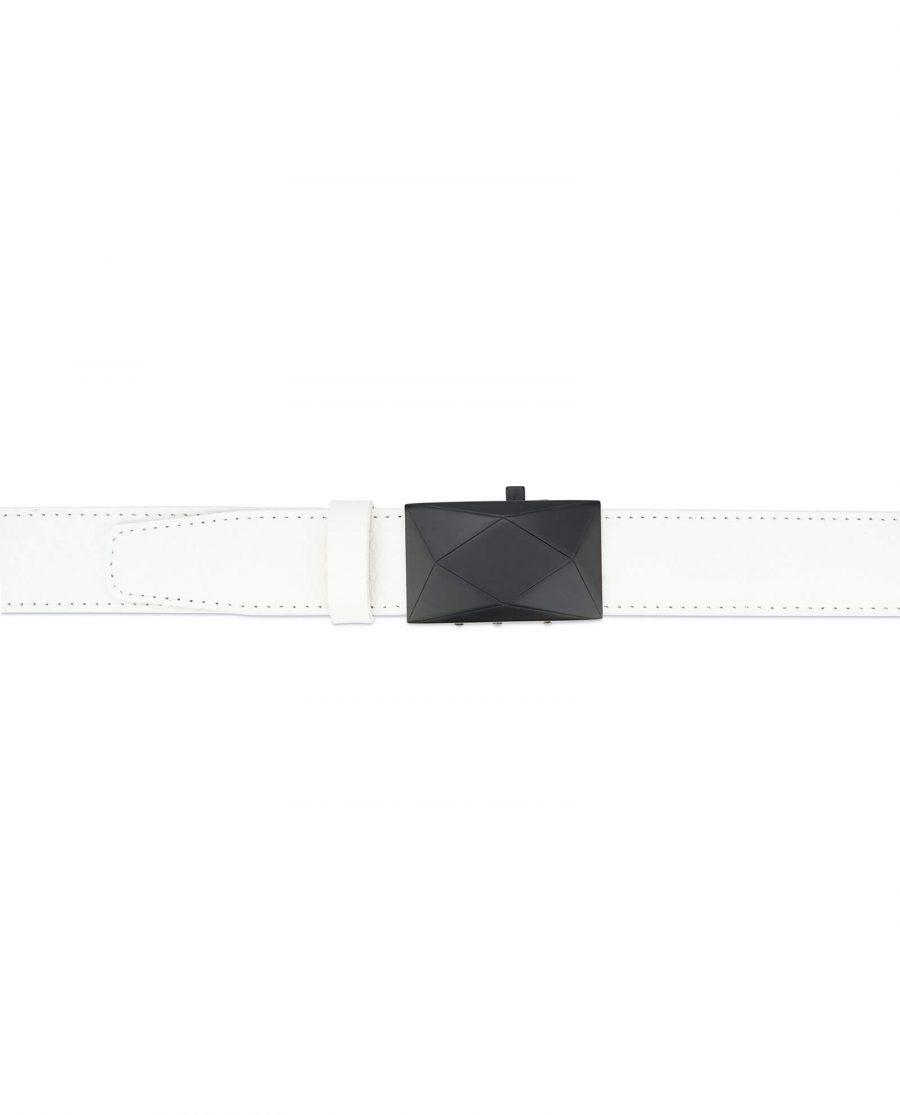 mens white leather belt with no holes – luxury buckle RTWT35ROBL 3