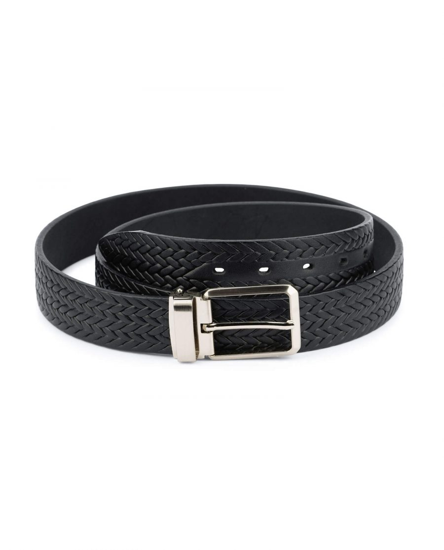 mens woven belt – real embossed leather 3 5 cm 1