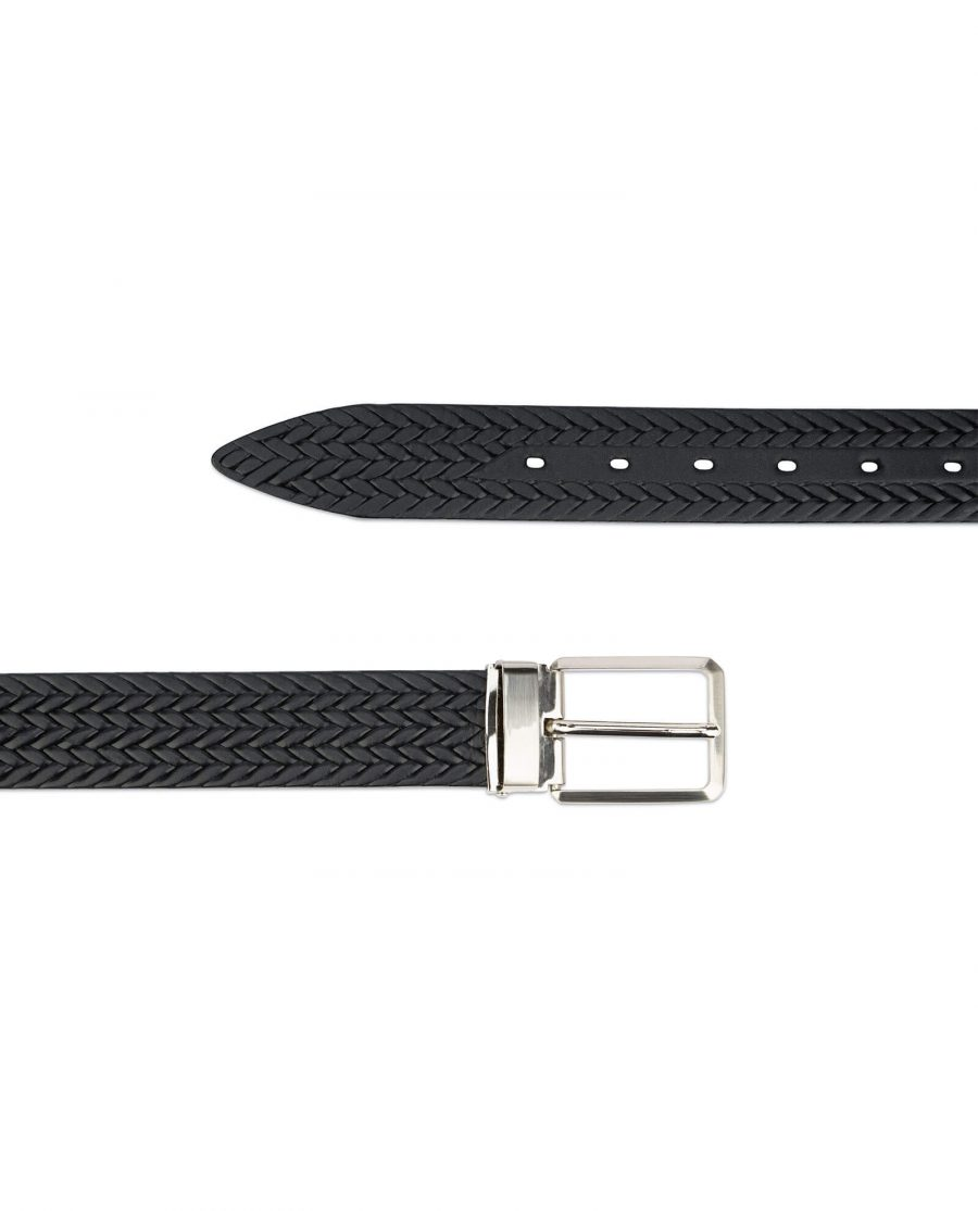 mens woven belt – real embossed leather 3 5 cm 2