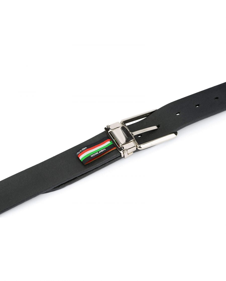 mens woven belt – real embossed leather 3 5 cm 3