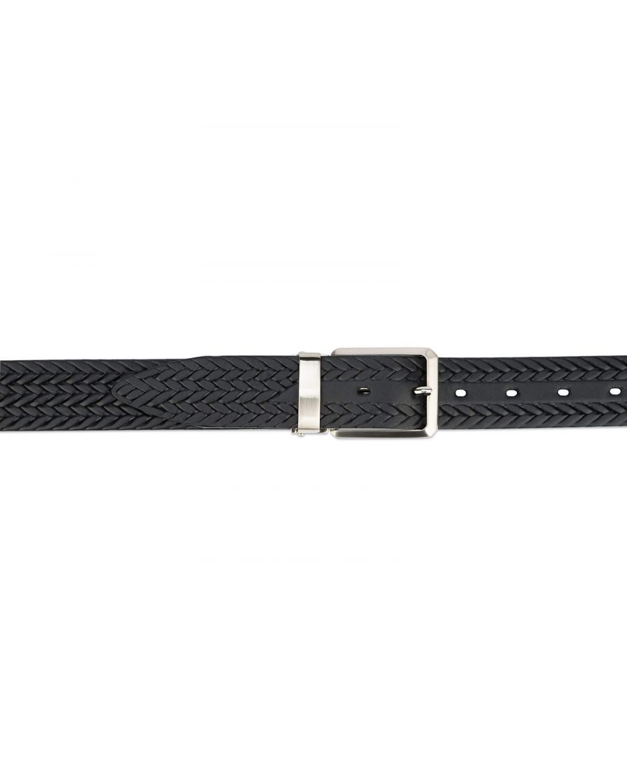 mens woven belt – real embossed leather 3 5 cm 4