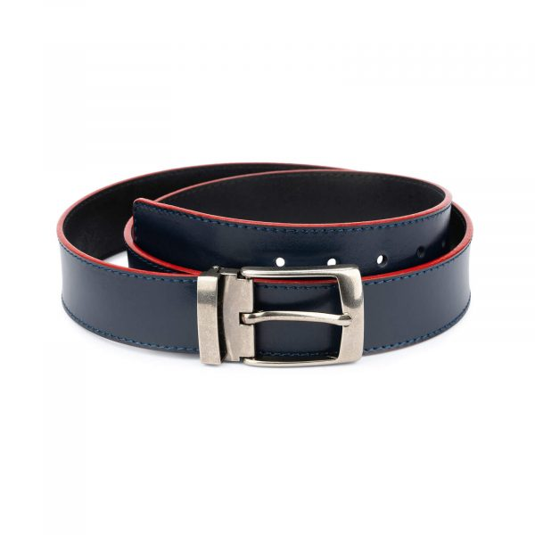 navy blue wide belt with red – real leather 40 mm 1