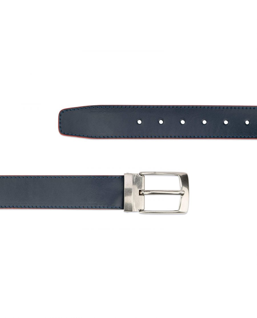 navy blue wide belt with red – real leather 40 mm 2