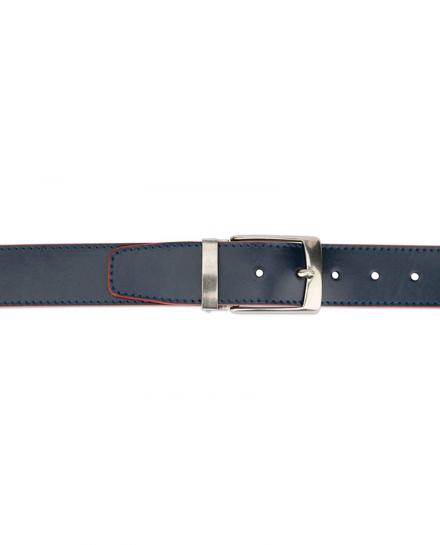 navy blue wide belt with red – real leather 40 mm 3
