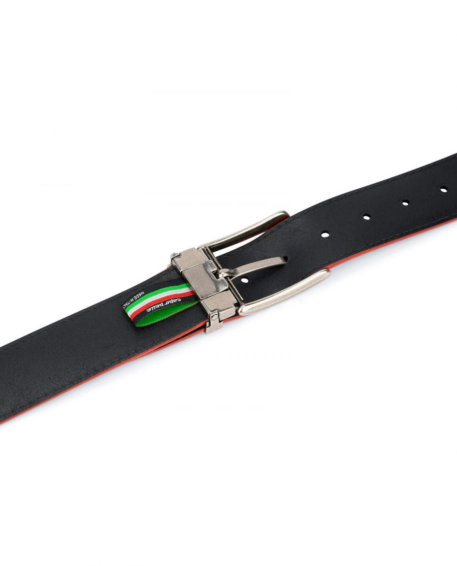 navy blue wide belt with red – real leather 40 mm 4