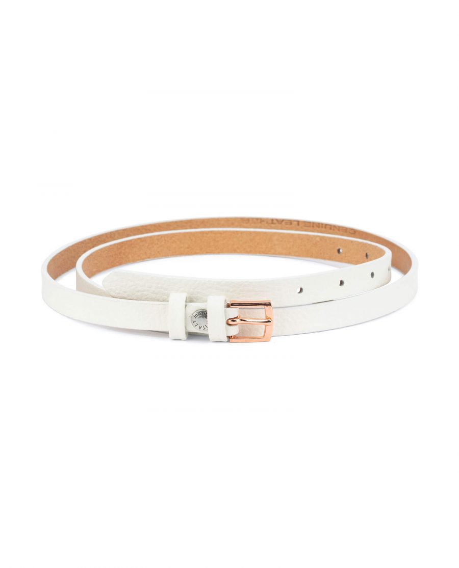 white belt with rose gold buckle – thin 15 mm WHDO15ROGD 1