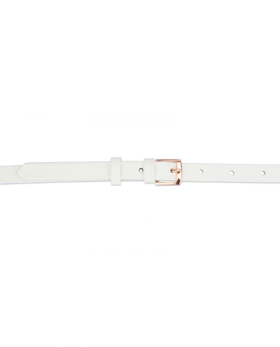 white belt with rose gold buckle – thin 15 mm WHDO15ROGD 3