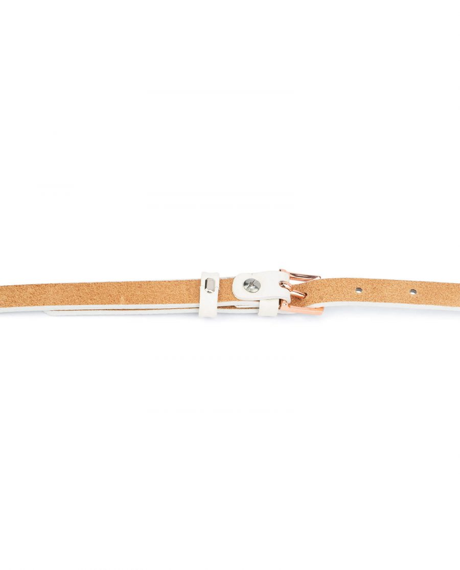 white belt with rose gold buckle – thin 15 mm WHDO15ROGD 4
