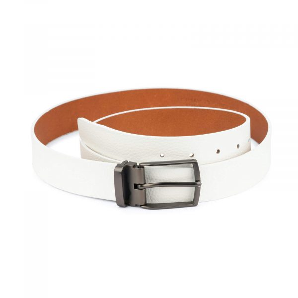 white leather belt for men – pebbled calfskin 3 5 cm 1