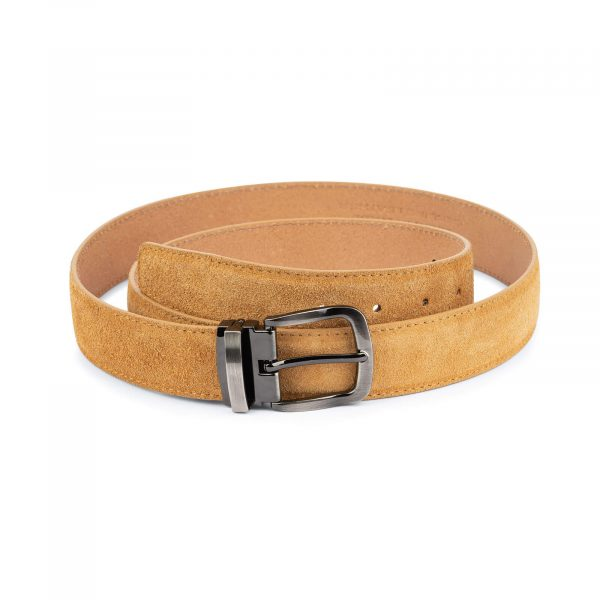 womens camel suede belt – black buckle 35 mm 1